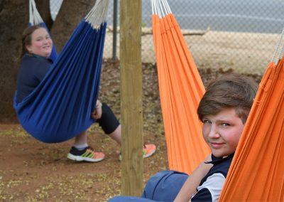 students on hammock